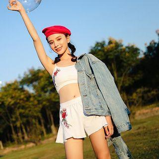 Set: Floral Embroidery Tankini + Swim Shorts