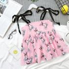 Tie-shoulder Printed Top