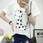 Giraffe Print Short Sleeve T-shirt