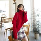 Turtle-neck Extra Long-sleeve Knit Top