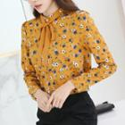 Floral Print 3/4 Sleeve Chiffon Blouse