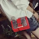 Buckled Glitter Shoulder Bag