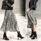 Accordion-pleated Leopard Print Skirt Black - One Size