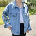 Buttoned Denim Embroidered Jacket
