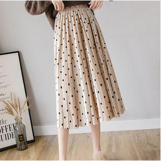 Elastic-waist Dotted Pleated Midi Skirt
