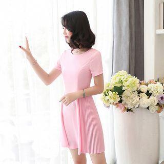 Plain Pleated Trim Short Sleeve Dress