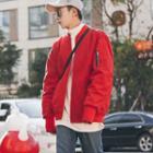 Shirred Sleeve Applique Zip Padded Jacket