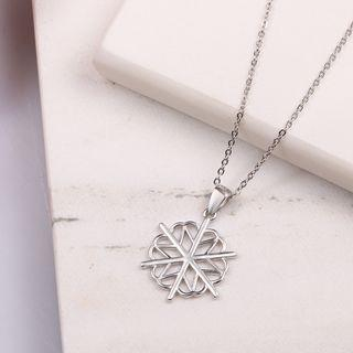 925 Sterling Silver Snowflake Pendant Necklace Silver - One Size