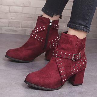 Studded Chunky-heel Short Boots