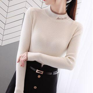 Contrast Trim Letter Embroidered Long-sleeve Knit Top