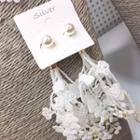 Faux-pearl Lace Tassel Drop Earrings