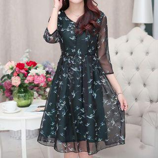 Floral Print 3/4-sleeve A-line Chiffon Dress