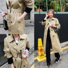 Flap-front Double-breasted Trench Coat With Belt