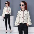 Puff-sleeved Stand Collar Polka-dot Chiffon Blouse
