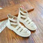 Lace Panel Roman Sandals