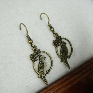 Copper Parrot Earrings Copper - One Size