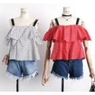 Off-shoulder Ruffled Dotted Top