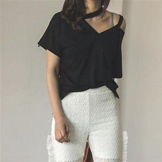 Short-sleeve Cutout Top Black - One Size