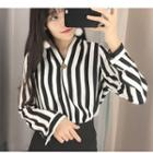 Striped Single-buttoned Long-sleeve Chiffon Top