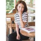 Short-sleeve Stripe Knit Top