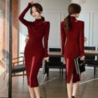 Mock Turtleneck Long-sleeve Midi Sheath Dress