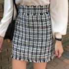 Fringed A-line Tweed Miniskirt