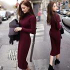 Ribbed Mock Neck Sweater Dress
