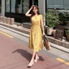 Sleeveless Floral Print Dress Yellow - One Size