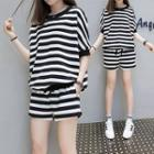 Set: Striped Elbow-sleeve Top + Shorts