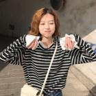 Pleated Trim Striped Pullover