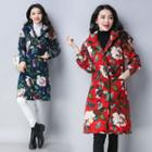 Flower Print Hooded Padded Coat