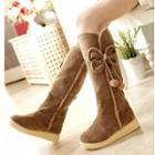 Faux Suede Furry Pompom Accent Tall Boots