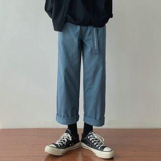 Lettering Strap Wide Leg Pants