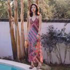 Halter Patterned A-line Midi Dress