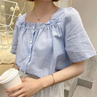 Short-sleeve Frill Trim Striped Buttoned Top
