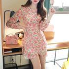 Tie-waist Rosette Wrap Dress