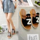 Letter Applique Wedge Sandals