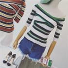 Stripe Off-shoulder Knit Top