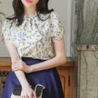 Inset Scarf Petal-sleeve Floral Top