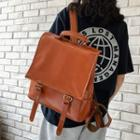 Plain Faux Leather Flap Backpack