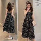 Heart Strappy Tiered Midi Dress