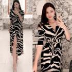 Zebra Print Elbow-sleeve Midi A-line Dress