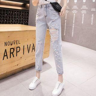 Faux Pearl Distressed Straight-cut Cropped Jeans