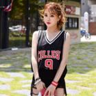 Sleeveless Printed Basketball Top