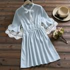 Elbow-sleeve Lace Ribbon Striped A-line Dress