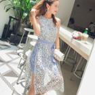 Sleeveless Mock Two-piece Lace Midi Dress