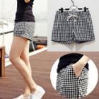 Check Linen Shorts