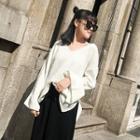 Plain V-neck Flare-sleeve Knit Top White - One Size