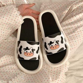 Milk Cow Print Slippers