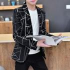 Single-button Printed Blazer